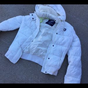 American eagle white winter jacket medium